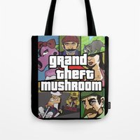 grand theft auto Tote Bags featuring Grand Theft Mushroom by Ben Clark
