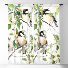 Chickadees and Dogwood Flowers Blackout Curtain