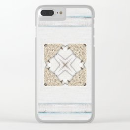 Country Style White Wood Frame Burlap Pattern Clear iPhone Case