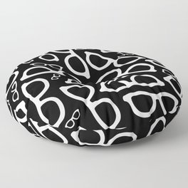 Smart Glasses Pattern - White on Black Floor Pillow