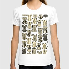 Vintage Sexy Cream and Black Girly Corsets Pattern T-shirt