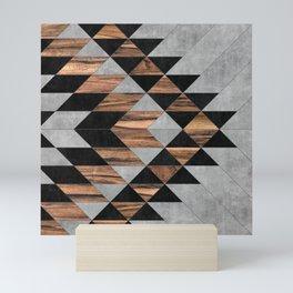 Urban Tribal Pattern No.10 - Aztec - Concrete and Wood Mini Art Print