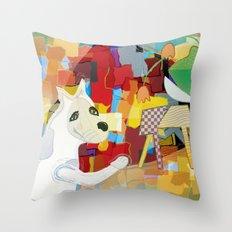 Bad Dog Cubism Throw Pillow