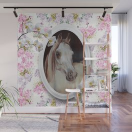 White orchids & Arabian mare Wall Mural