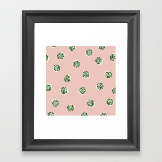Mixed Dots - in Peach Framed Art Print