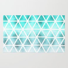 Teal blue ombre geometric triangles pattern  Rug