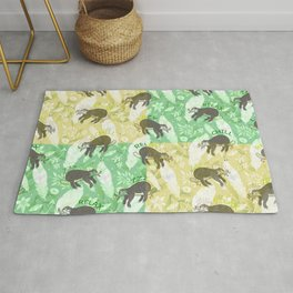 Mozaic Lazy Boho Sloth On Yellow and Green Background Rug