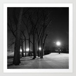 Winter Night's Walk Art Print