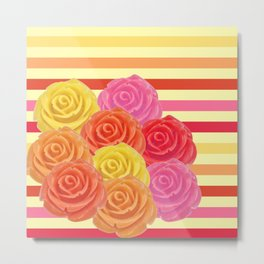 Frosted  Candy Roses Metal Print