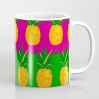 pineapples Mugs featuring Pineapples by The Wallpaper Files