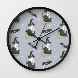 cute cartoon unicorn witch with broom and bats halloween pattern Wall Clock