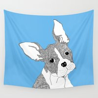 french bulldog Wall Tapestries featuring French Bulldog by caseysplace