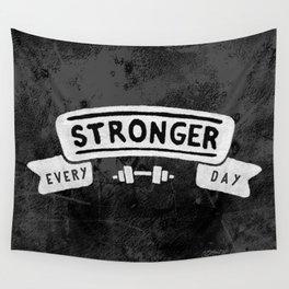 Stronger Every Day (dumbbell, black & white) Wall Tapestry