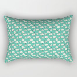 Happy Mail Hearts on Teal Rectangular Pillow