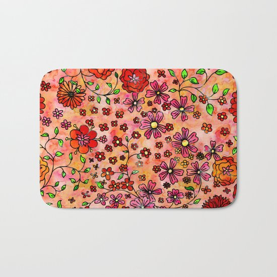 Orange Small Flowers Bath Mat