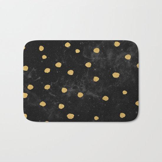 Gold Dots on Black Space Pattern Bath Mat