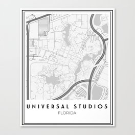 Minimalistic Universal Studios Florida Map Canvas Print