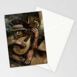 lute sloth Stationery Cards
