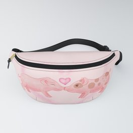 Cute Watercolor Hand-painted Little Pigs in Love I Love You Farm Animals Gift Pastel Baby Pink Color Fanny Pack