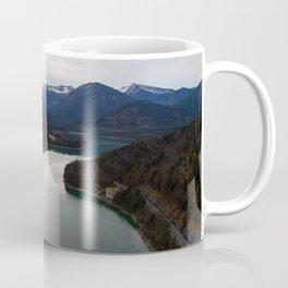 german alps road lake trees forrest drone aerial shot horizon clouds Coffee Mug