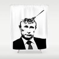 "pun Shower Curtains featuring Vlad ""Poutine"" - Putin Pun Portrait by MattSkinnerArt"