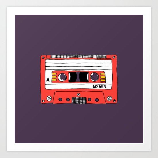Vintage Mix Tape // Purple and Pink Art Print