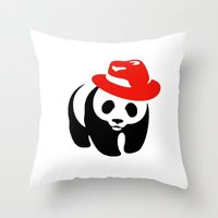 panda Throw Pillows featuring Panda by ArtSchool