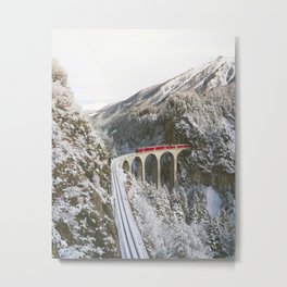 APPROACHING RED TRAIN ACROSS MOUNTAINS Metal Print