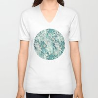 fig V-neck T-shirts featuring Fig Leaf Fancy - a pattern in teal and grey by micklyn