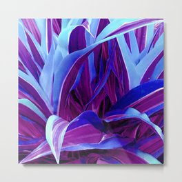 Teal Blue, Sapphire & Purple Avant-Garde Leaves Metal Print