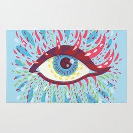 Weird Blue Psychedelic Eye Rug