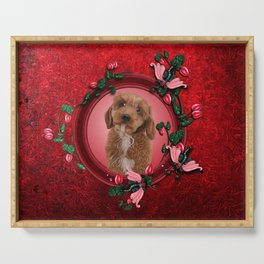 Cute little cockapoo puppy Serving Tray