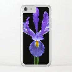 Blue Iris Flower Clear iPhone Case