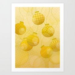 Gold Christmas Ornaments Art Print