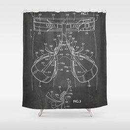 Rock Climbing Harness Patent - Rock Climber Art - Black Chalkboard Shower Curtain