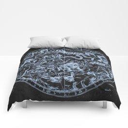 Ice on Black   Zodiac Skies & Astrological Ties Comforters