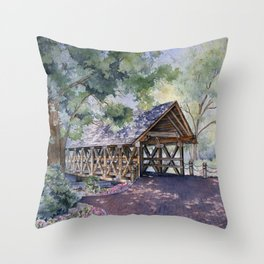 Naperville Covered Bridge in Spring Throw Pillow