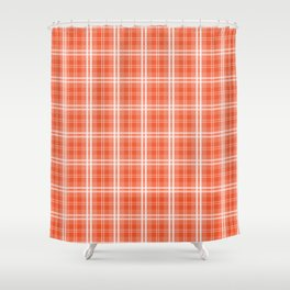 Spring 2017 Colors Flame Orange Red Tartan Plaid Shower Curtain