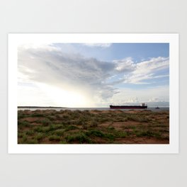Ore Ship off Spoil Bank - Clouds Art Print