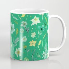 Verdant Flowers on Emerald Background Coffee Mug