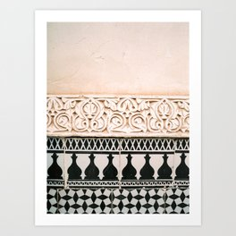 Graphic tile pattern | Moroccan Arabic tiles in earth tones. | Pastel film marrakech photography Art Print