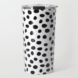 Hand Drawn Polka Dots, Spots Black &  White Travel Mug