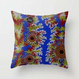 Authentic Aboriginal Art - Waterholes Corela Throw Pillow