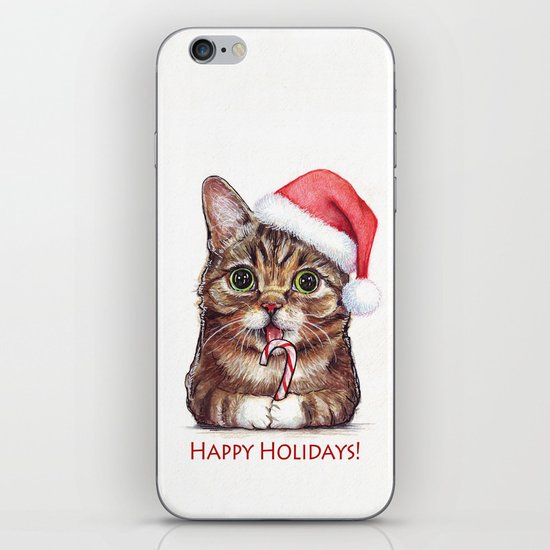 Cat in Santa Hat with Candy Cane iPhone & iPod Skin