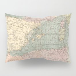 Vintage Map of The Eastern Mediterranean Ports (1905) Pillow Sham