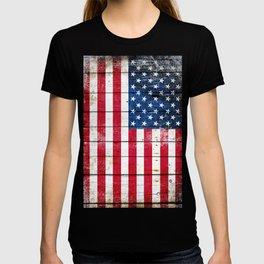 Distressed American Flag On Wood Planks - Horizontal T-shirt