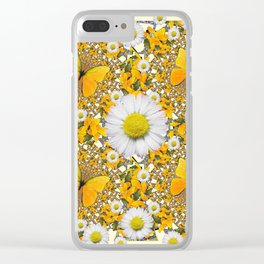 MONTAGE WHITE DAISIES  GREEN FROGS & BUTTERFL IES Clear iPhone Case