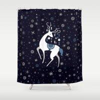 reindeer Shower Curtains featuring reindeer by Anita Molnár Anita