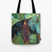 "flora bowley Tote Bags featuring ""Light Trio"" Original Painting by Flora Bowley by Flora Bowley"