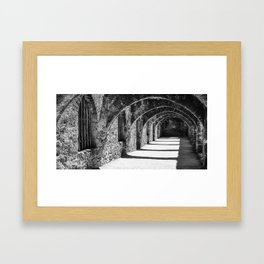 Stone Archways of the San Jose Mission - San Antonio Texas Monochrome Panorama Framed Art Print